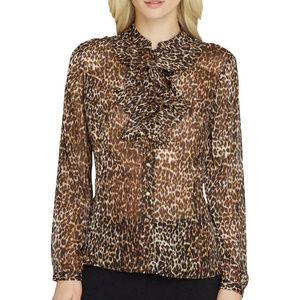 Tahari Sheer Leopard Ruffle Blouse NWT
